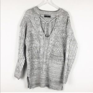 Ethereal | Gray Cut Out Cable Knit Sweater | Large
